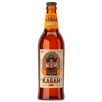 Пиво Жашківський кабан Лагер світле нефільтроване 5% 0,5л - купити, ціни на CітіМаркет - фото 1