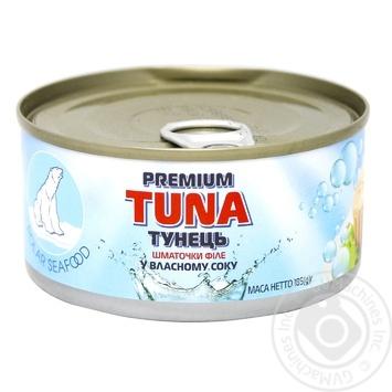 Тунец Premium Tuna кусочки филе в собственном соку 185г - купить, цены на Novus - фото 1