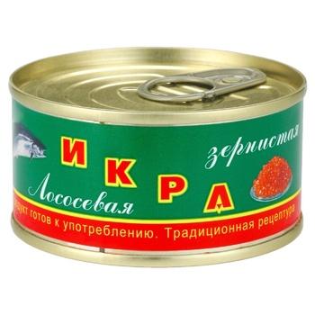 Икра лососевая Камчатская традиционная зернистая 120г ж/б - купить, цены на Ашан - фото 1