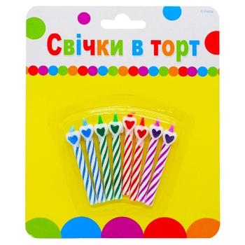 Свічки для торту Party Favors Серденька 8шт