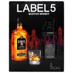 Віскі Label 5 Scotch набір + 2 стакани 40% 0,7л
