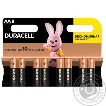 Щелочные батарейки Duracell AA, 8 шт. в упаковке - купить, цены на Ашан - фото 1