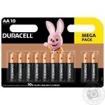 Щелочные батарейки Duracell AA, 10 шт. в упаковке