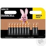 Щелочные батарейки Duracell AAA, 10 шт. в упаковке