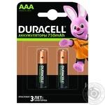 Аккумуляторы Duracell AAA, 2 шт. в упаковке