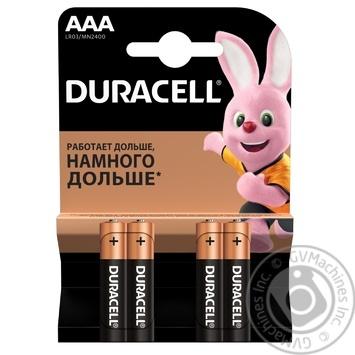 Щелочные батарейки Duracell AAA, 4 шт. в упаковке - купить, цены на Ашан - фото 1