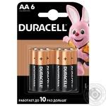 Щелочные батарейки Duracell AA, 6 шт. в упаковке