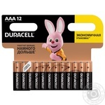 Щелочные батарейки Duracell AAA, 12 шт. в упаковке