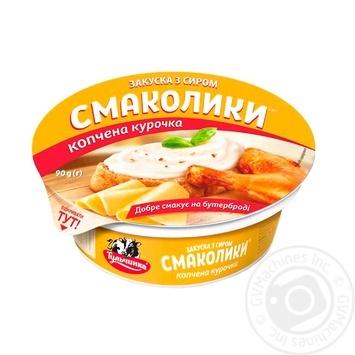 Закуска с сыром Тульчинка Смаколики копченая курица 55% 90г - купить, цены на Novus - фото 1