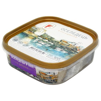 Филе-кусочки сельди Флагман в масле с луком 300г