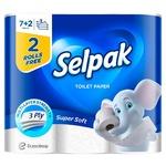 Туалетная бумага Selpak белая 9шт