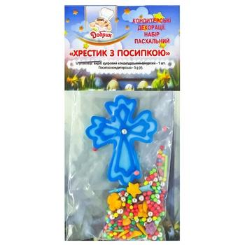Пасхальний декор Добрик  хрестик з посипкою - купить, цены на СитиМаркет - фото 1