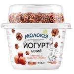 Йогурт Молокия белый + попкорн в карамели с какао 2,5% 162г