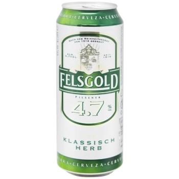 Пиво Felsgold светлое фильтрованное пастеризованное 4,7% 0,5л - купить, цены на Метро - фото 1
