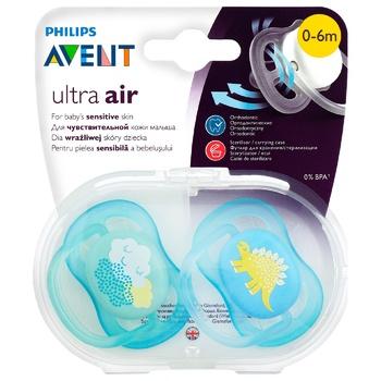 Пустышка Philips Avent Ultra Air дышащая 0-6мес 2шт - купить, цены на МегаМаркет - фото 2