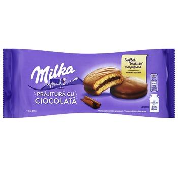 Печенье-сэндвич Milka с начинкой покрытое молочным шоколадом 150г