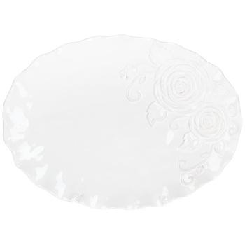 Блюдо BonaDI Аеліта овальне біле 36см