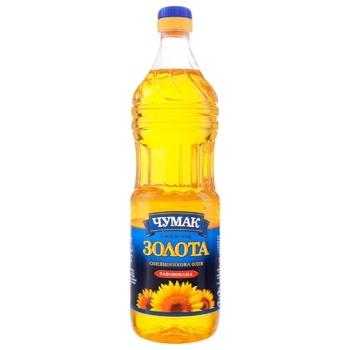 Масло Чумак Золотое подсолнечное рафинированное 0,9л
