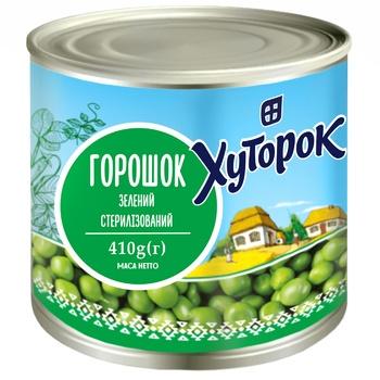 Горошок Хуторок зелений 410г - купити, ціни на Фуршет - фото 1