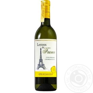 Вино Lettres de France Colombard Chardonnay белое сухое 11,5% 0,75л