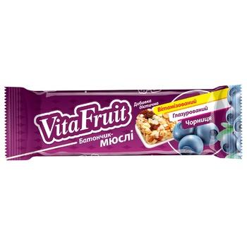 Батончик-мюслі VitaFruit Чорниця вітамінізований глазурований 25г - купити, ціни на CітіМаркет - фото 1