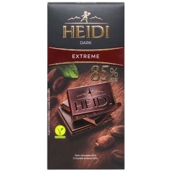 Chocolate black Heidi bars 85% 80g Romania