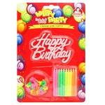 Свечи для торта Помощница неоновые с подставками 20шт