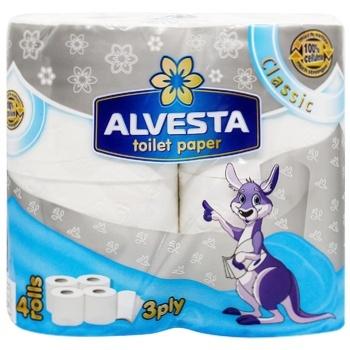 Туалетная бумага Alvesta Classic трехслойная 4рул