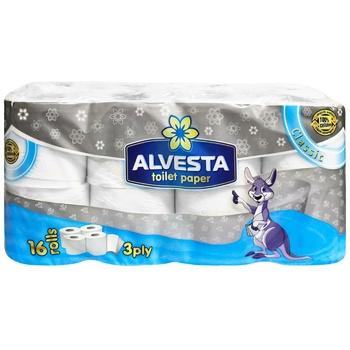 Туалетний папір Alvesta Classic тришаровий 16рул