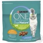 Корм сухой Purina ONE DualNature со спирулиной и курицей для взрослых котов 1,4кг