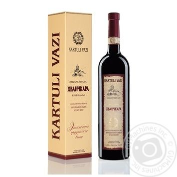 Вино красное Картули Вази Хванчкара натуральное виноградное высококачественное природно-полусладкое 10.5% 750мл - купить, цены на Novus - фото 2