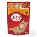 Корм Мяу Курка в ніжному соусі для котів 100г
