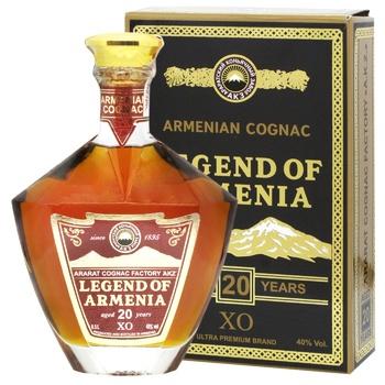 Коньяк Легенда Вірменії X.O. 20років 40% 0,5л в коробці