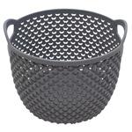 Drop Round Gray Metallic Basket 1,5