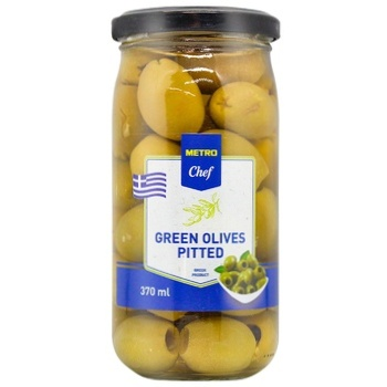 METRO Chef  Pitted Green Olive 370ml