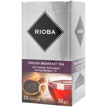 Чай Rioba English Breakfast чорний байховий купажований вищий сорт у пакетиках 25*2г