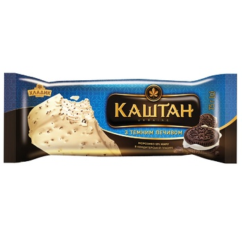 Мороженое Хладик Каштан с темным печеньем в белой кондитерской глазури 75г - купить, цены на СитиМаркет - фото 2