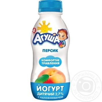 Йогурт Агуша персик для детей с 8 месяцев 2.7% 200г - купить, цены на МегаМаркет - фото 1