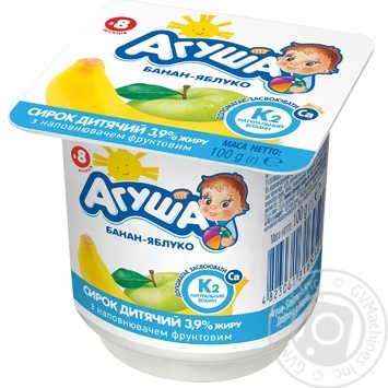 Agusha For Babies From 8 Months Apple-Banana Cottage Cheese 3.9% 100g - buy, prices for Novus - image 1