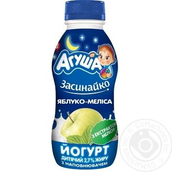 Йогурт детский Агуша Засыпайка Яблоко-Мелисса 2,7% 200г - купить, цены на Ашан - фото 1