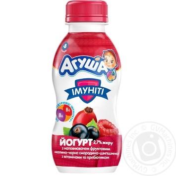 Йогурт детский Агуша Иммунити малина-черная смородина-шиповник 2,7% 200г - купить, цены на МегаМаркет - фото 1