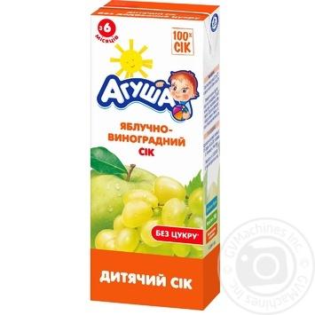 Сок Агуша яблоко-виноград для детей с 6 месяцев 200мл - купить, цены на Метро - фото 1