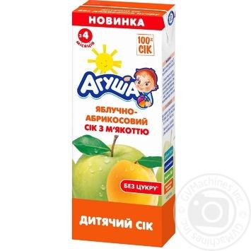 Сок Агуша яблоко-абрикос для детей с 4 месяцев 200мл - купить, цены на Фуршет - фото 1