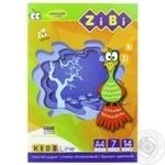 Картон цветной ZiBi А4 14л 7 цветов в ассортименте