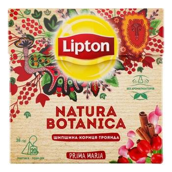 Смесь  плодово-травяных Lipton Natura Botanica с шиповником, гибискусом, корицей и лепестками роз в пакетиках 20х1.8г - купить, цены на Фуршет - фото 1