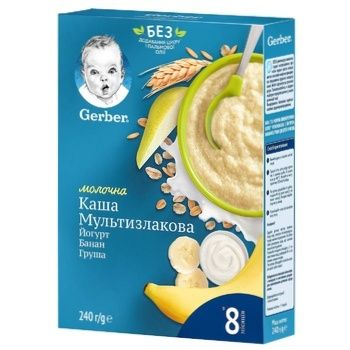 Каша молочна Gerber мультизлакова з йогуртом, бананом і грушею 240г - купити, ціни на Ашан - фото 1