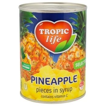 Ананас Tropic life кусочки в сиропе 580мл - купить, цены на Ашан - фото 1