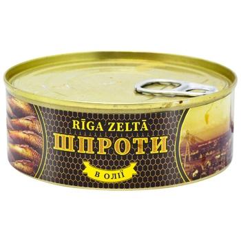 Шпроти Riga Zelta в олії 240г - купити, ціни на Ашан - фото 1