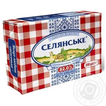 Масло Селянское сладкосливочное 82% 200г - купить, цены на Ашан - фото 1