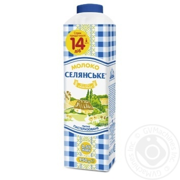 Молоко Селянское пастеризованное 2.6% 1000г Украина - купить, цены на Фуршет - фото 1